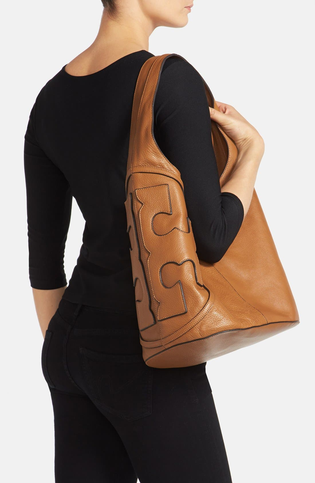 Alternate Image 2  - Tory Burch 'All T' Logo Leather Hobo