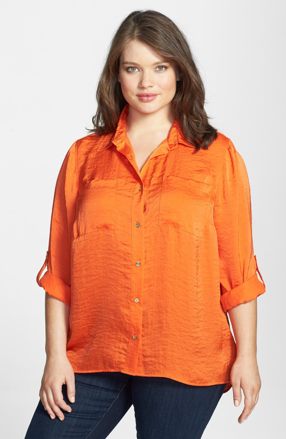 Alternate Image 1 Selected - MICHAEL Michael Kors Roll Sleeve Hammered Satin Shirt (Plus Size)