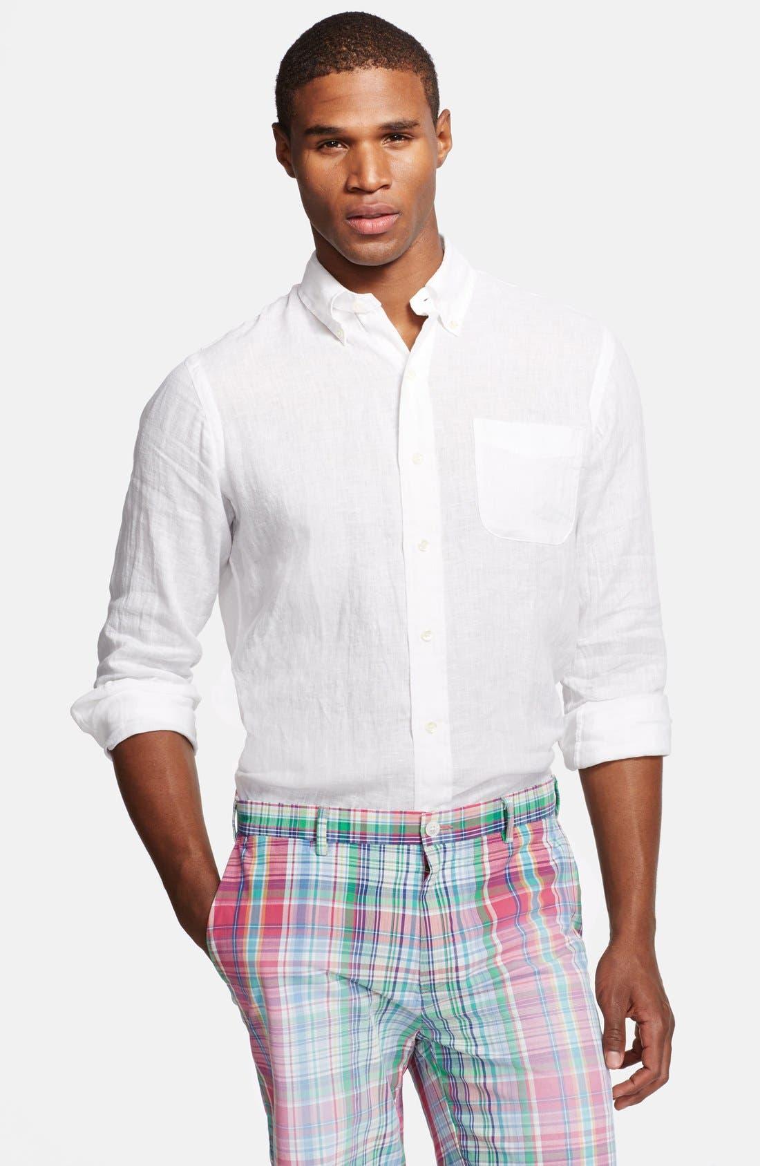 Main Image - Polo Ralph Lauren Custom Fit Linen Sport Shirt