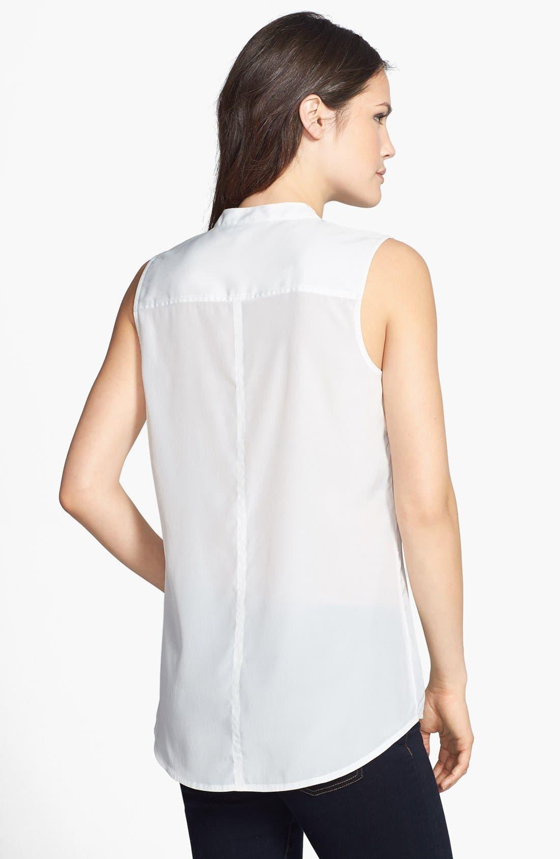 Alternate Image 2  - Halogen® Banded Collar Sleeveless Blouse (Regular & Petite)