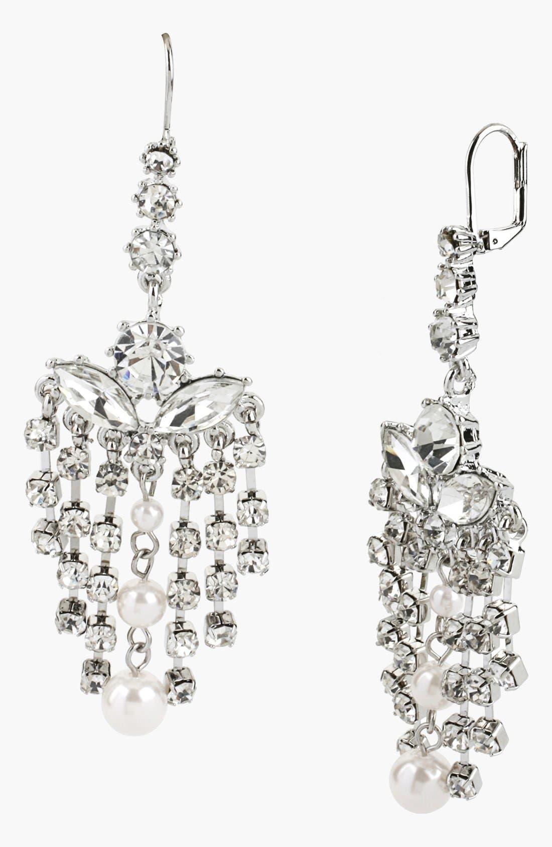 Alternate Image 1 Selected - Betsey Johnson 'Pretty Punk Pearl' Crystal Chandelier Earrings