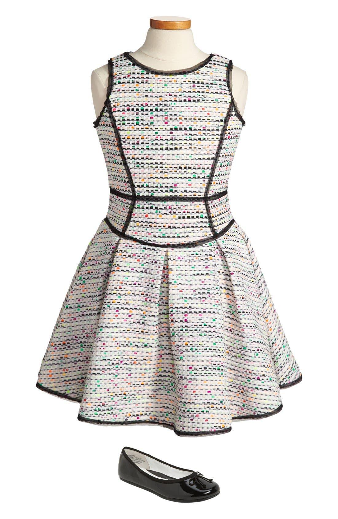Alternate Image 1 Selected - Milly Minis Tweed Dress & Nordstrom Ballet Flat (Big Girls)