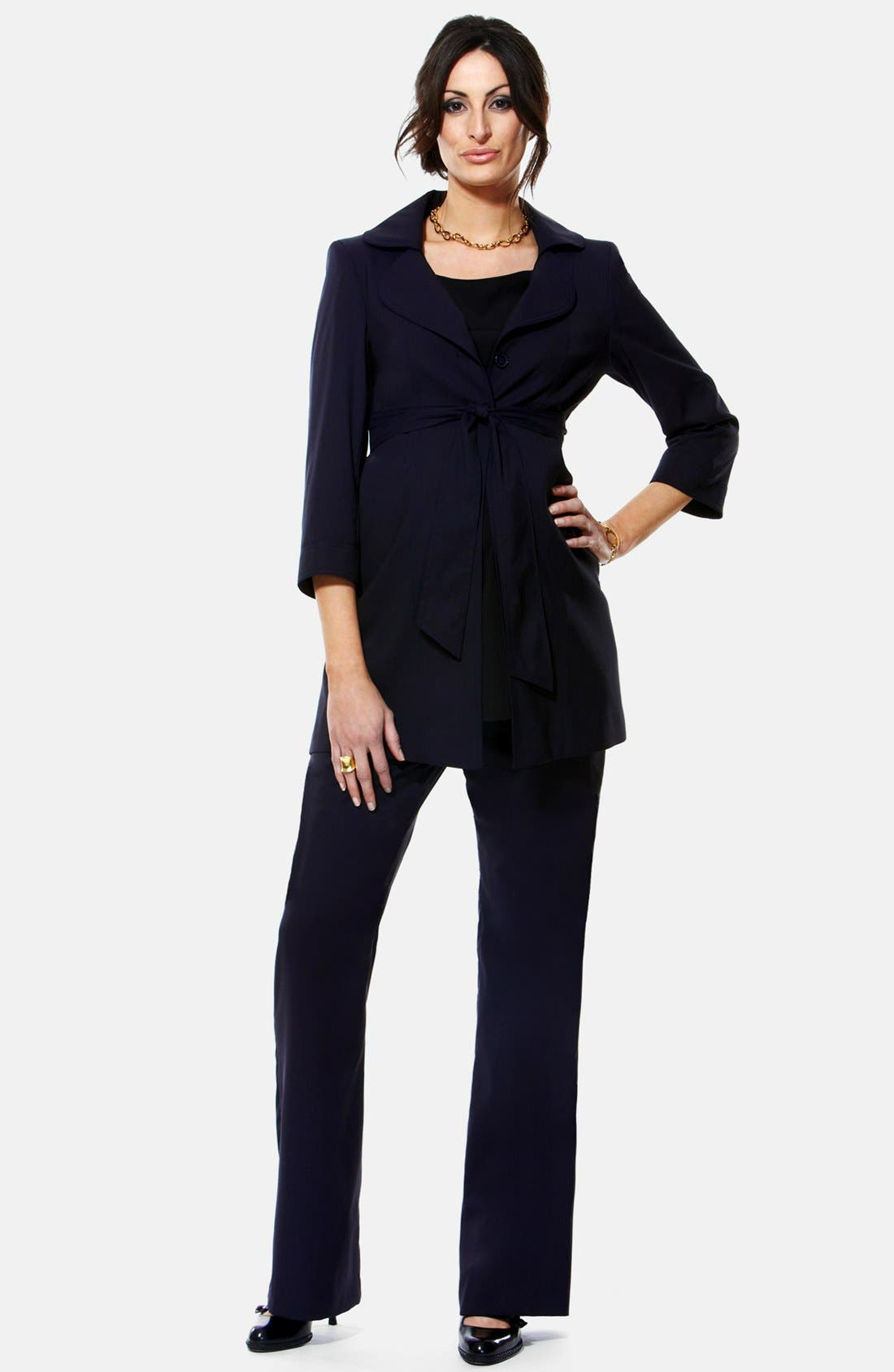 Alternate Image 1 Selected - Eva Alexander London Wrap Tie Virgin Wool Blend A-Line Maternity Jacket