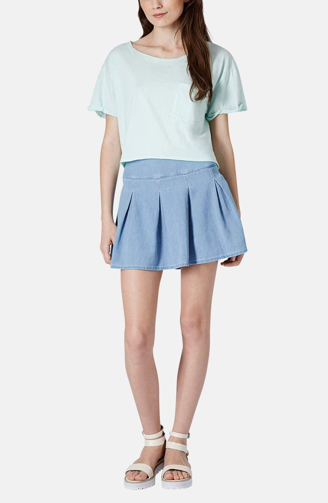 Moto Pleat Denim Skirt,                             Alternate thumbnail 5, color,                             Blue