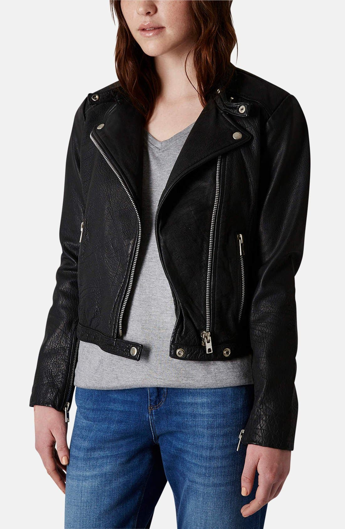 Main Image - Topshop Collarless Leather Biker Jacket