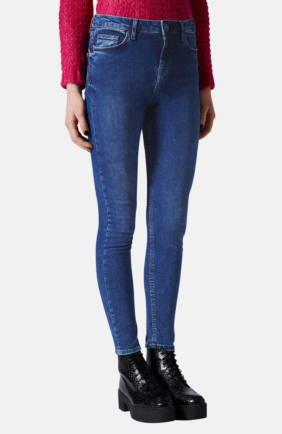 Main Image - Topshop Moto 'Jamie' High Rise Skinny Ankle Jeans (Blue) (Regular & Short)