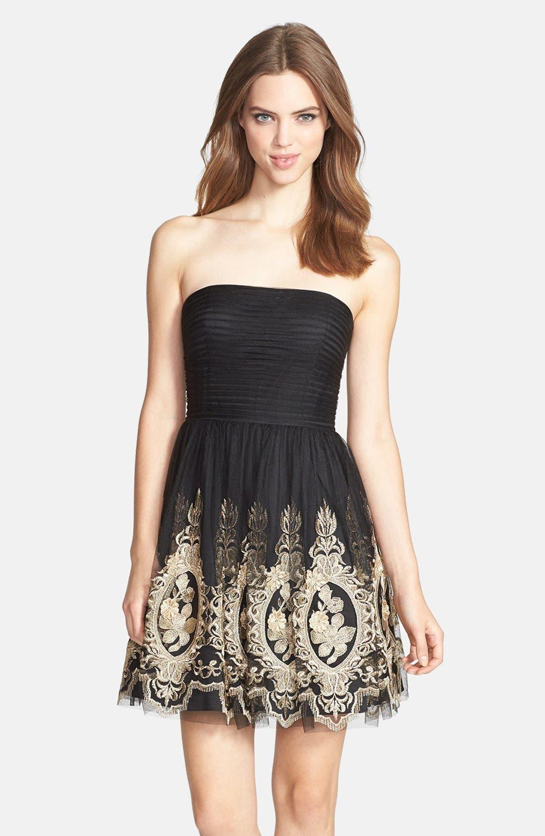 Main Image - Aidan Mattox Metallic Embroidered Tulle Fit & Flare Dress