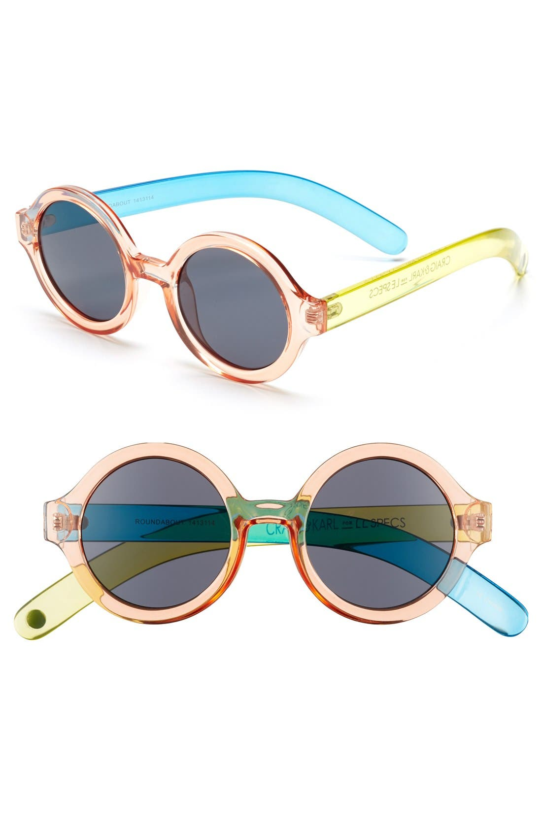 Craig and Karl x Le Specs 'Roundabout' 45mm Sunglasses,                             Main thumbnail 1, color,                             Clear Peach/ Blue/ Yellow