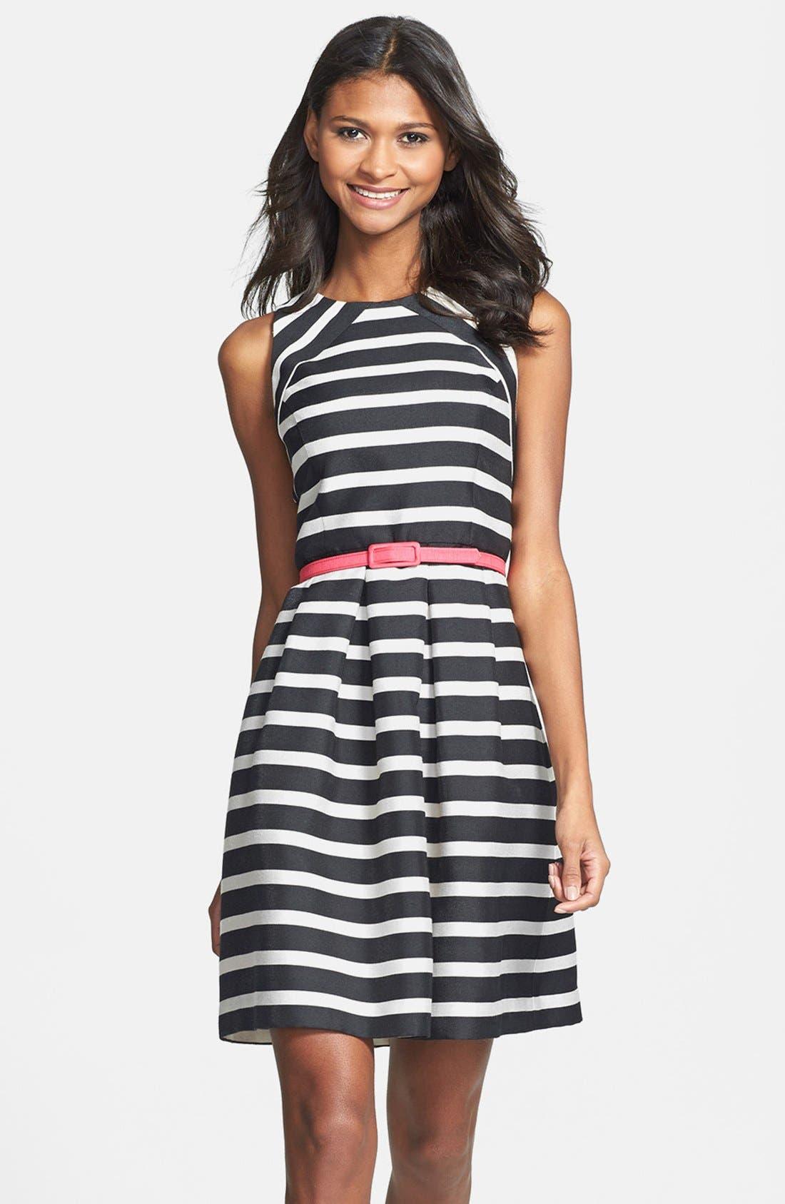 Main Image - Eliza J Belted Stripe Jacquard Fit & Flare Dress