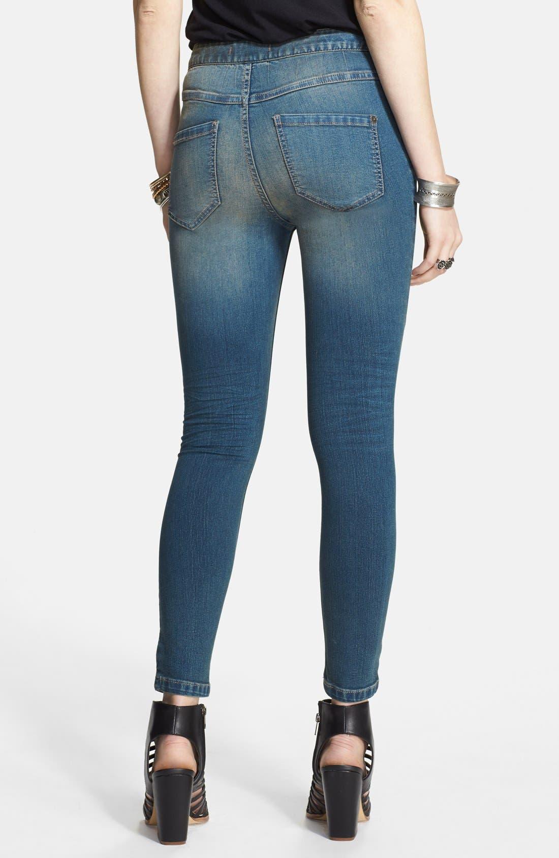 Alternate Image 2  - Free People High Rise Side Zip Skinny Jeans (Coyote)