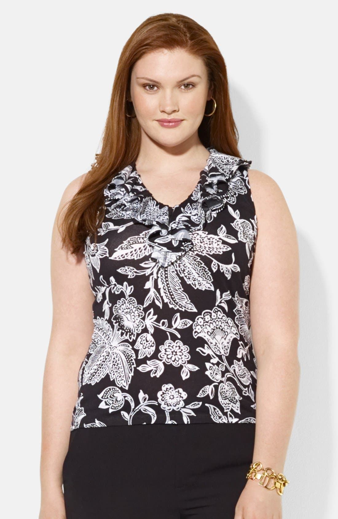 Alternate Image 1 Selected - Lauren Ralph Lauren Floral Print Ruffle V-Neck Top (Plus Size)