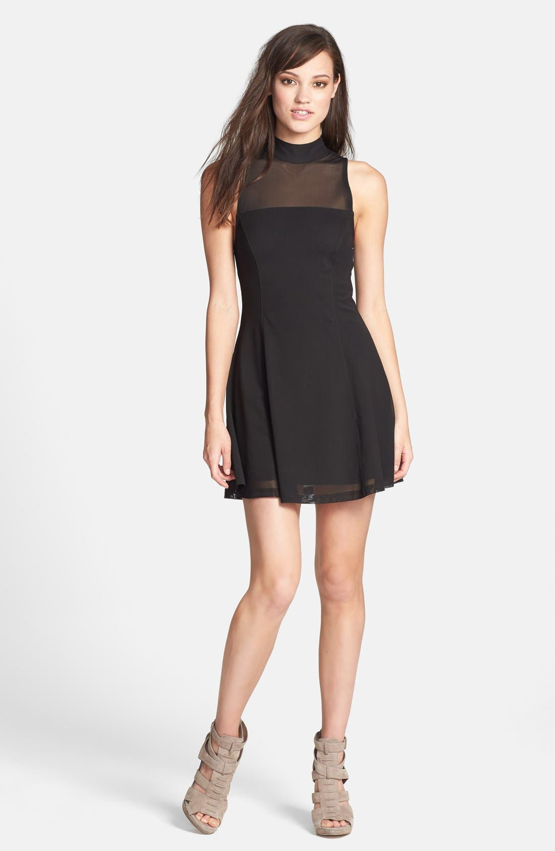 Main Image - MINKPINK 'Here Comes the Night' Illusion Yoke Skater Dress