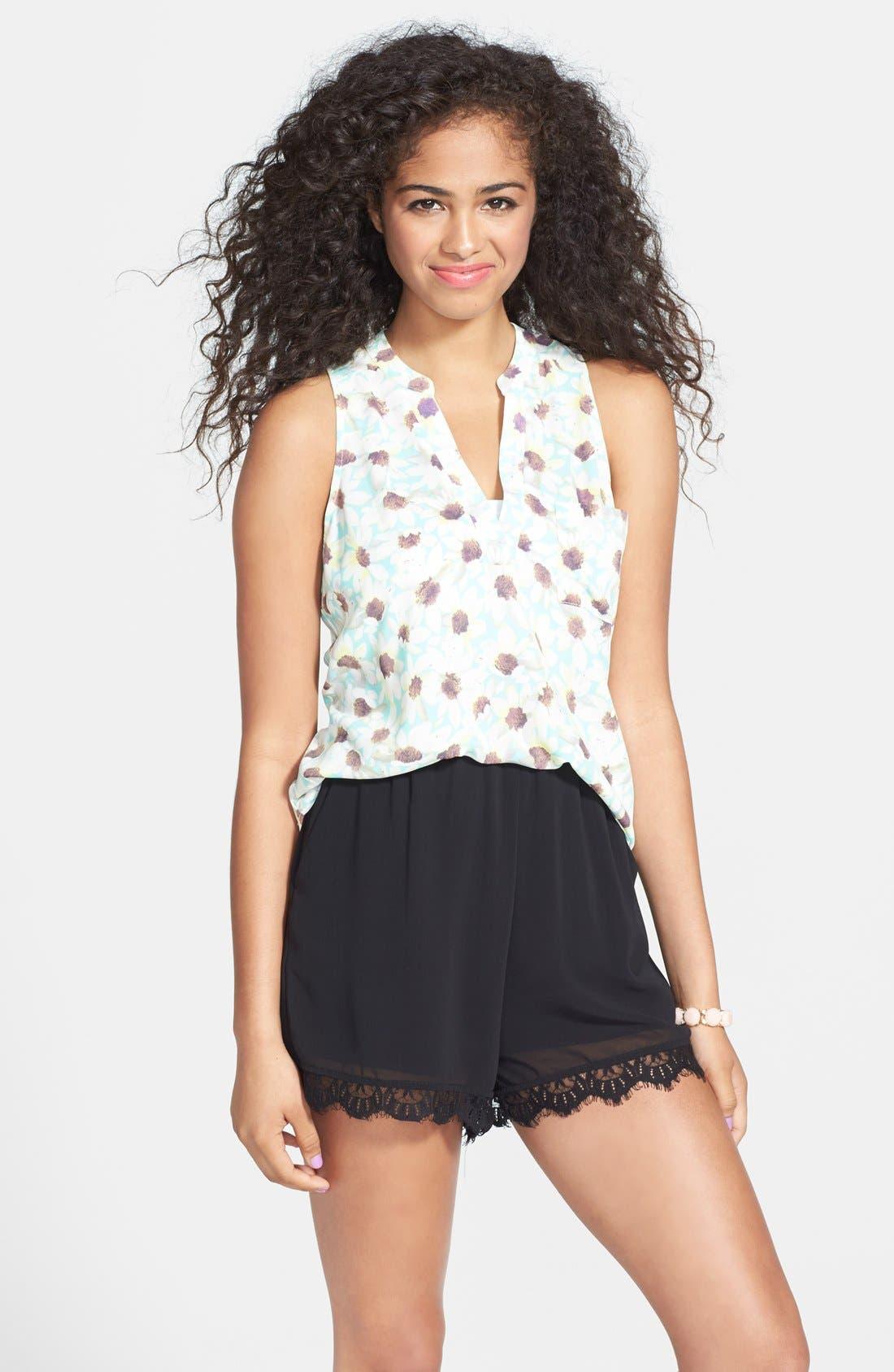 Main Image - Socialite Lace Trim High Waist Shorts (Juniors)