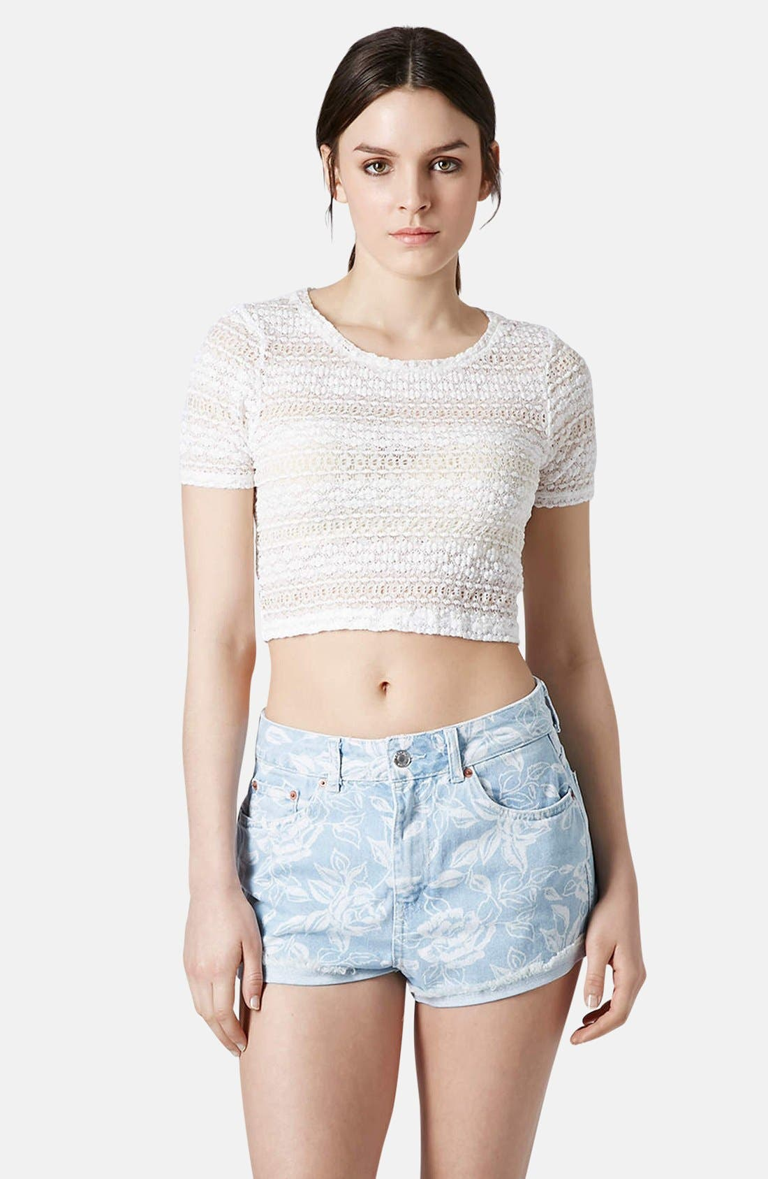Main Image - Topshop Textured Lace Crop Tee (Regular & Petite)