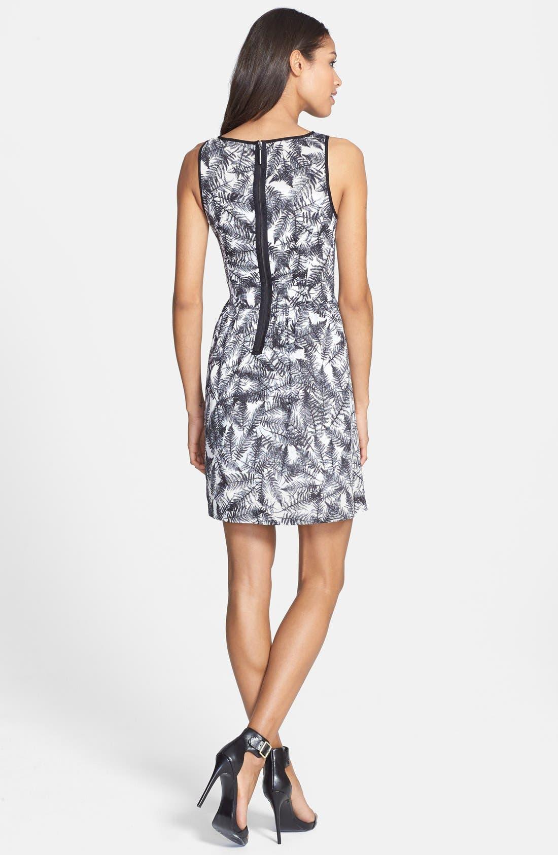 Alternate Image 2  - kensie 'Overlapped Ferns' Print Fit & Flare Dress