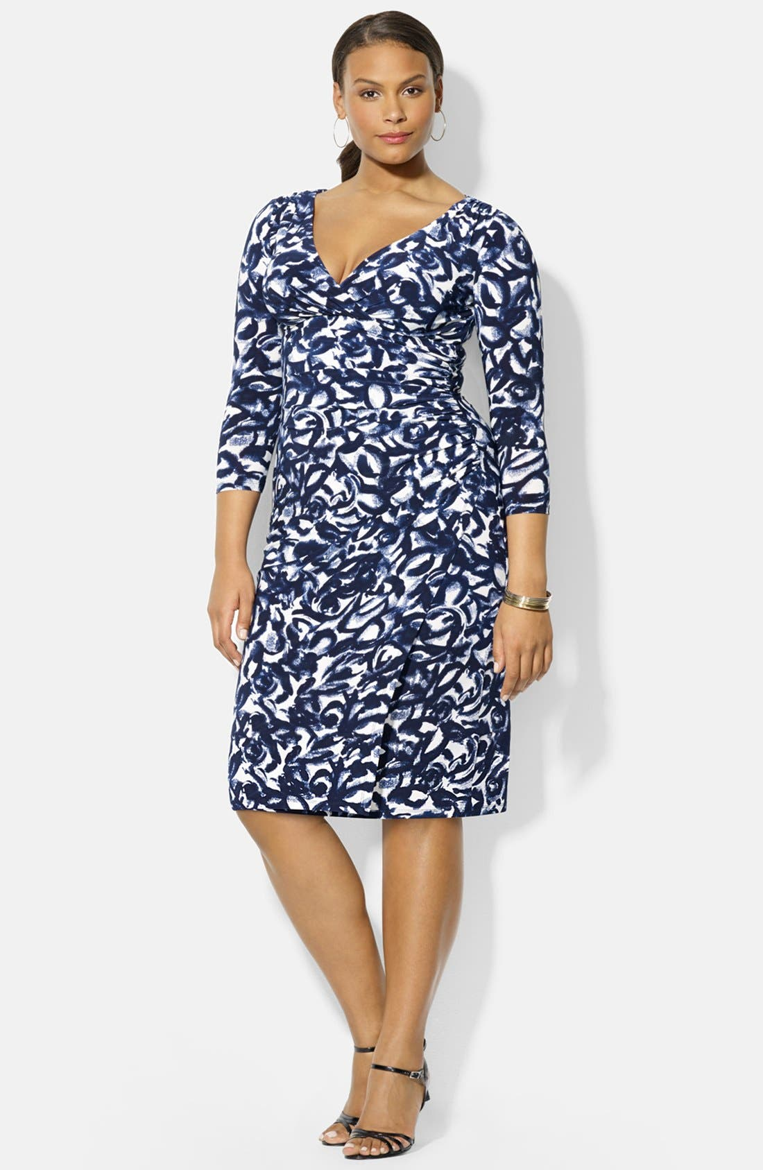 Alternate Image 1 Selected - Lauren Ralph Lauren Print Jersey Surplice Dress (Plus Size)