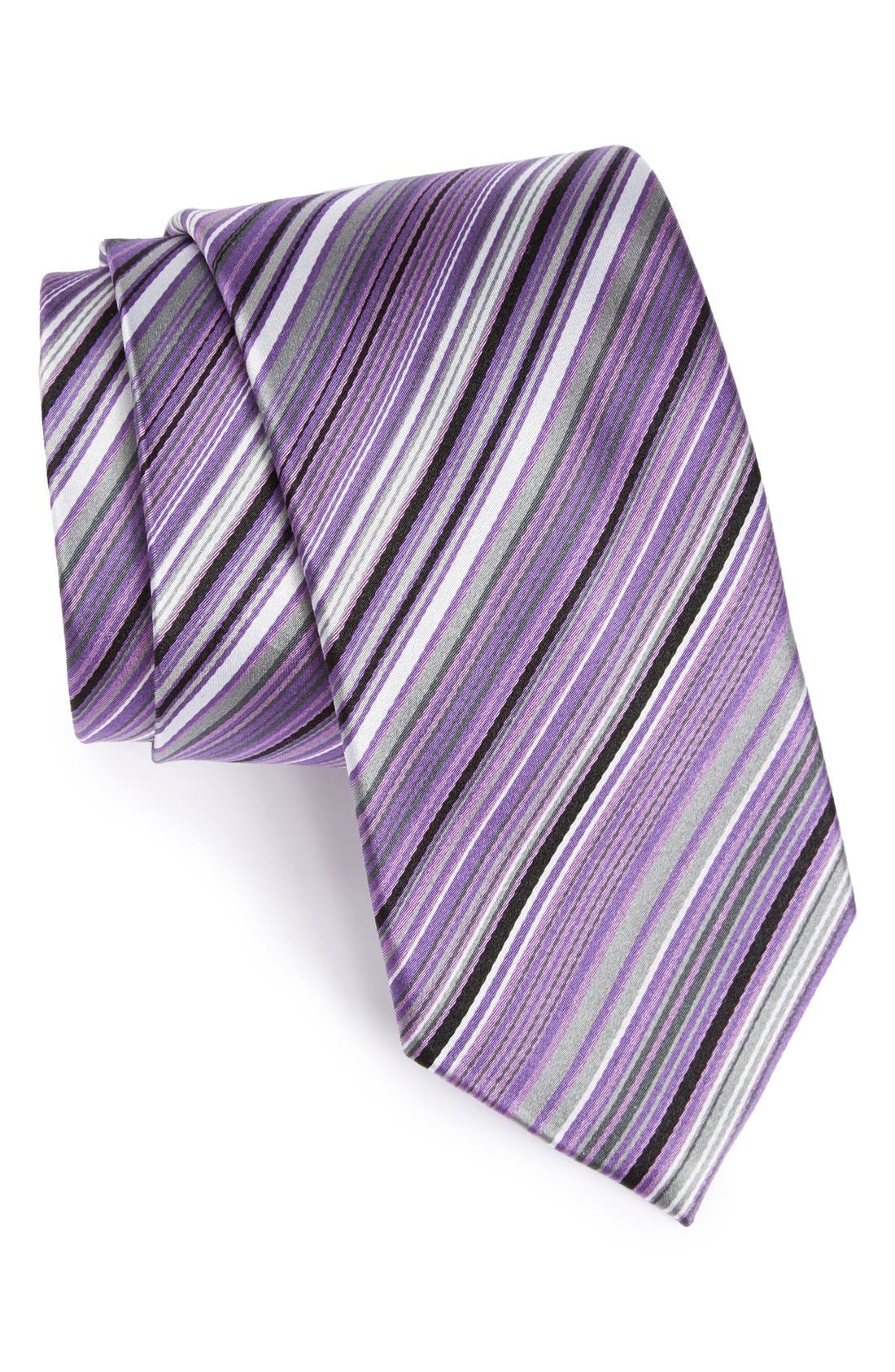 Alternate Image 1 Selected - Bugatchi Stripe Silk Tie