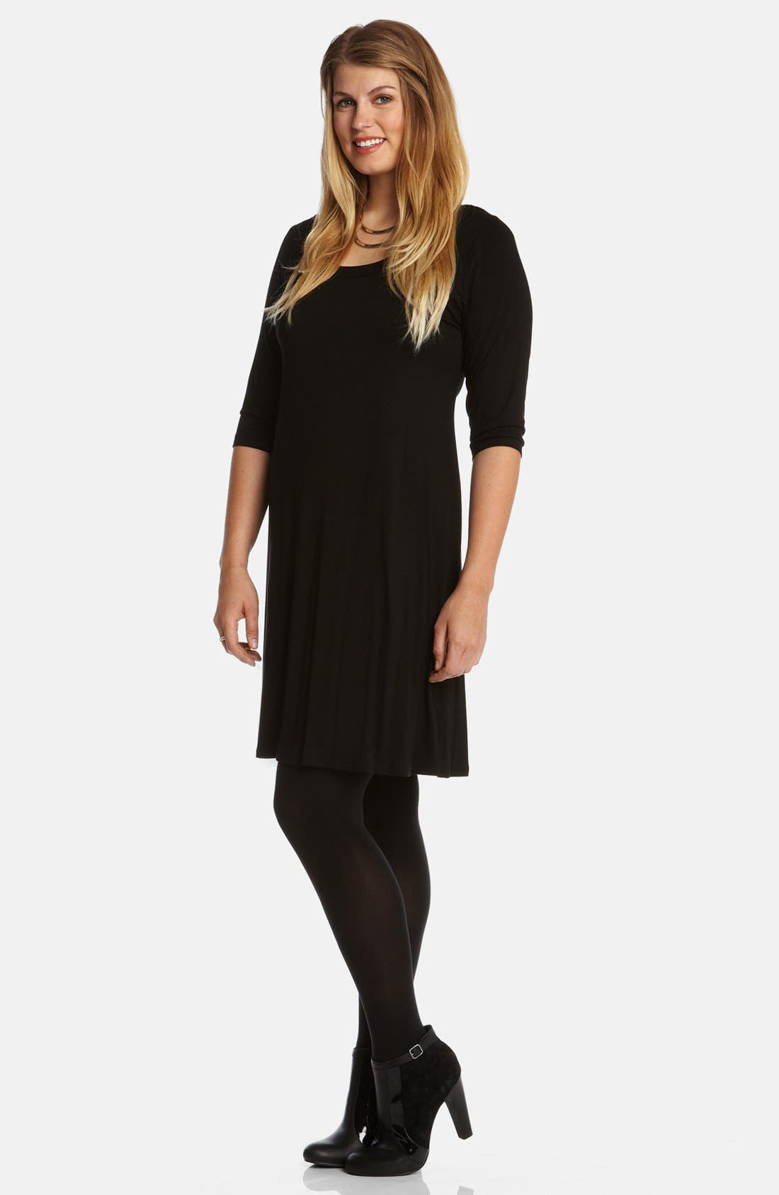 Scoop Neck Jersey Dress,                             Alternate thumbnail 3, color,                             Black