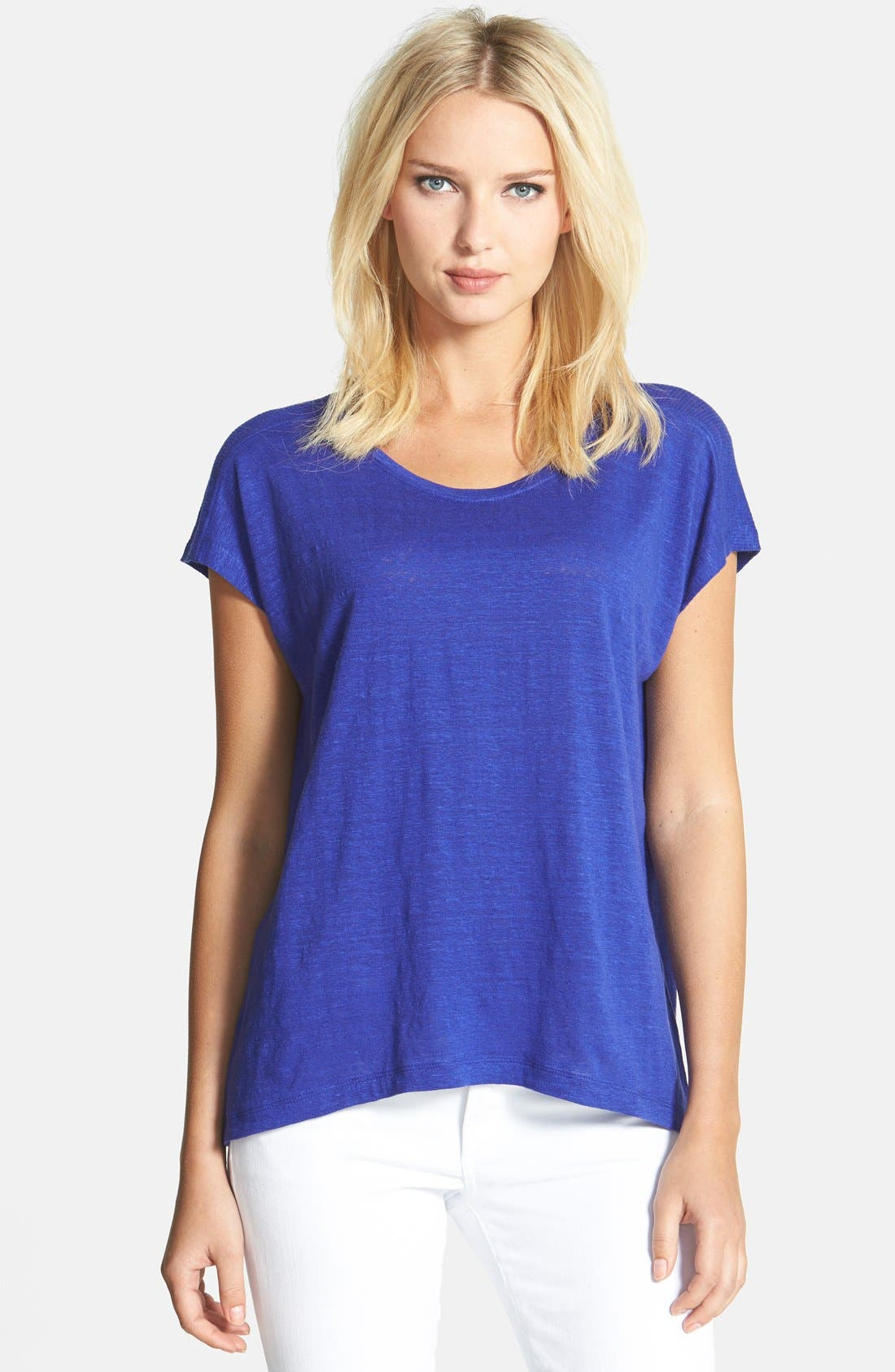 Alternate Image 1 Selected - Eileen Fisher Bateau Neck Organic Linen High/Low Top