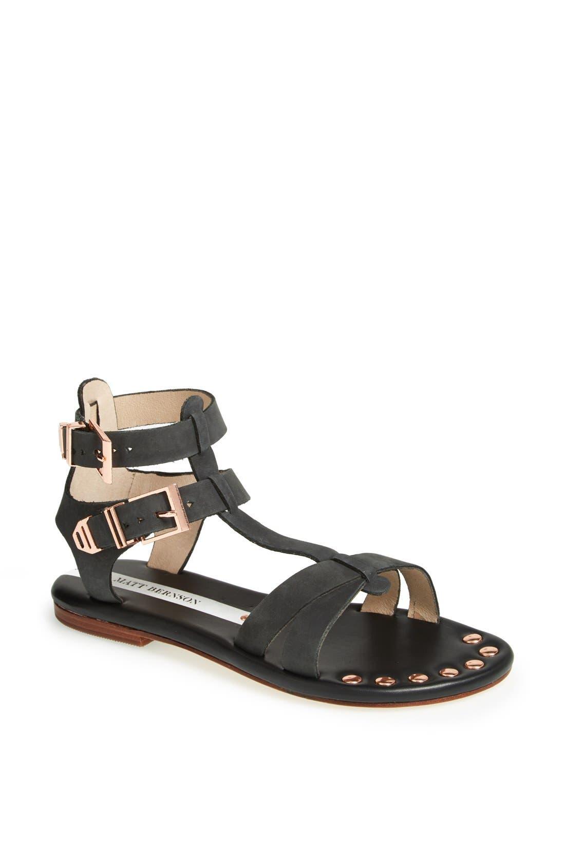 'KM' Gladiator Sandal,                             Main thumbnail 1, color,                             Black