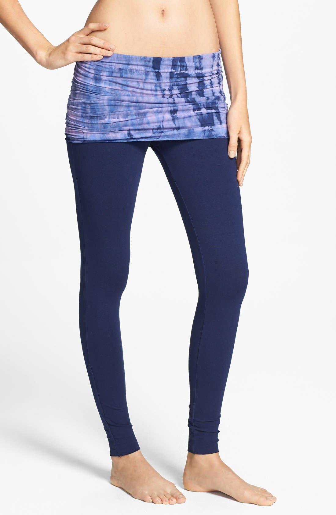 Alternate Image 1 Selected - Omgirl 'Nomad - Mad Plaid' Organic Cotton Foldover Leggings