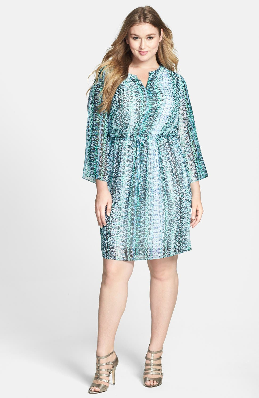 Main Image - Two by Vince Camuto 'Folk Geo' Split Neck Dress (Plus Size)