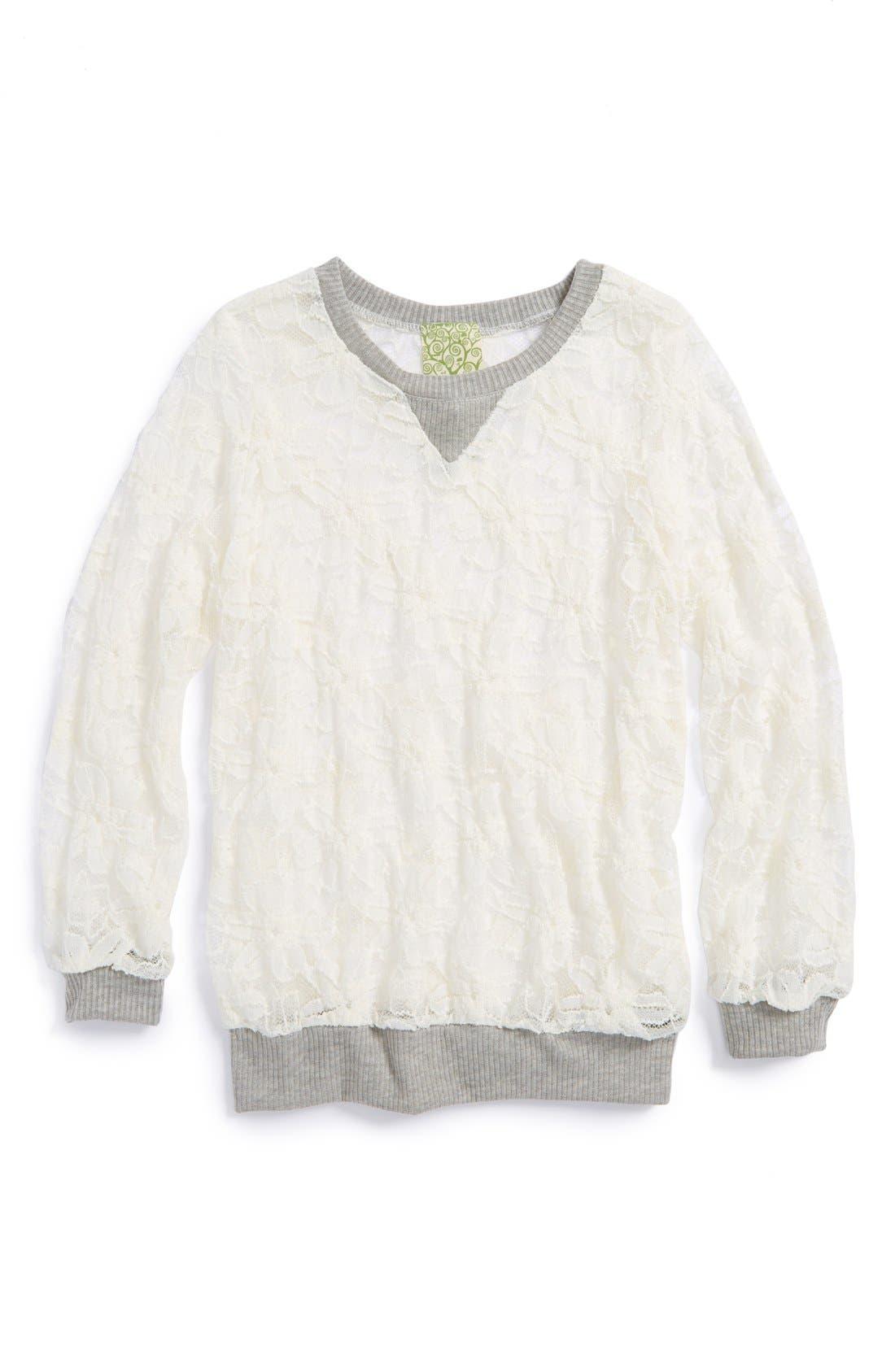 Alternate Image 1 Selected - Kiddo Sheer Floral Lace Sweatshirt (Big Girls)