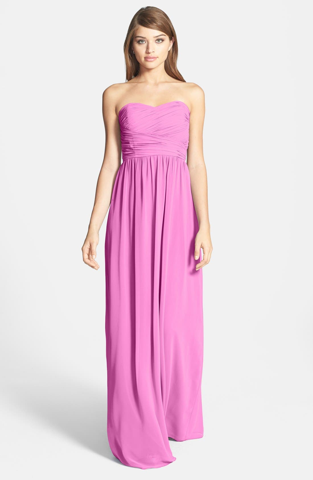 Alternate Image 1 Selected - Donna Morgan 'Stephanie' Strapless Ruched Chiffon Gown
