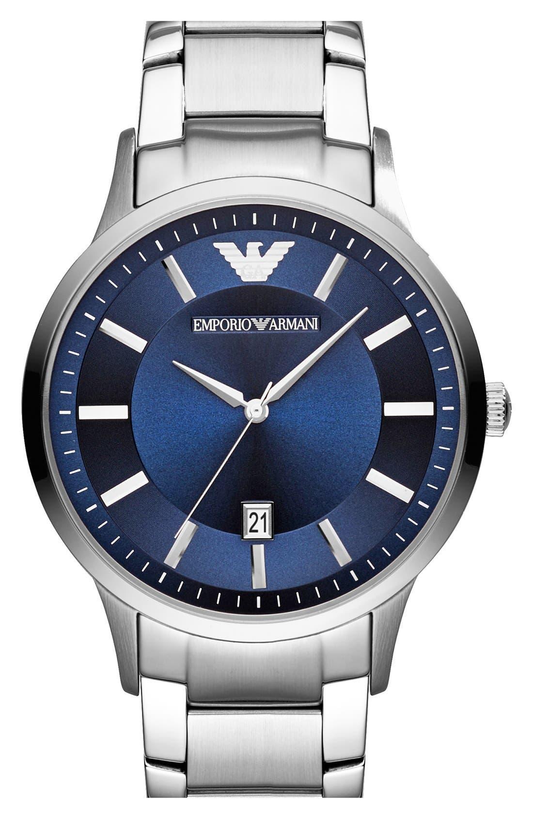 Round Bracelet Watch, 43mm,                         Main,                         color, Silver/ Blue