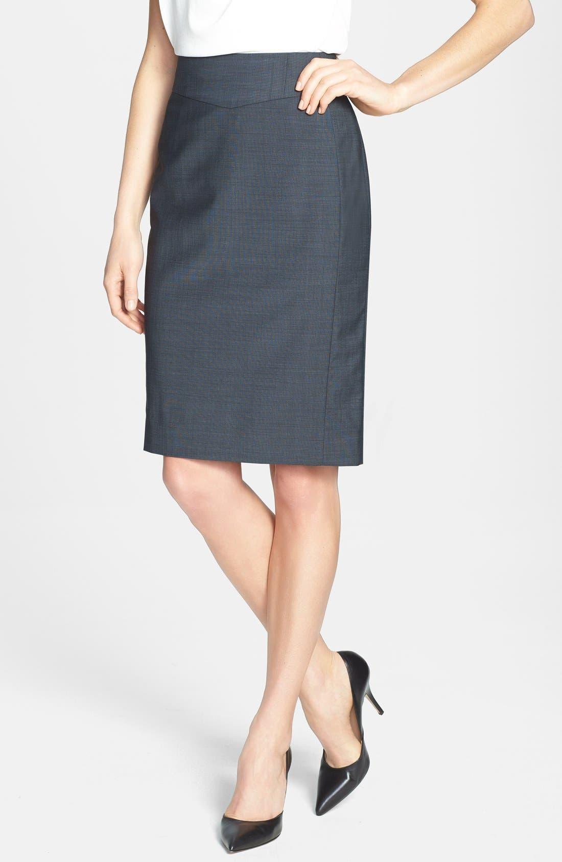 Main Image - Classiques Entier® 'Viviane Suiting' Stretch Wool Pencil Skirt