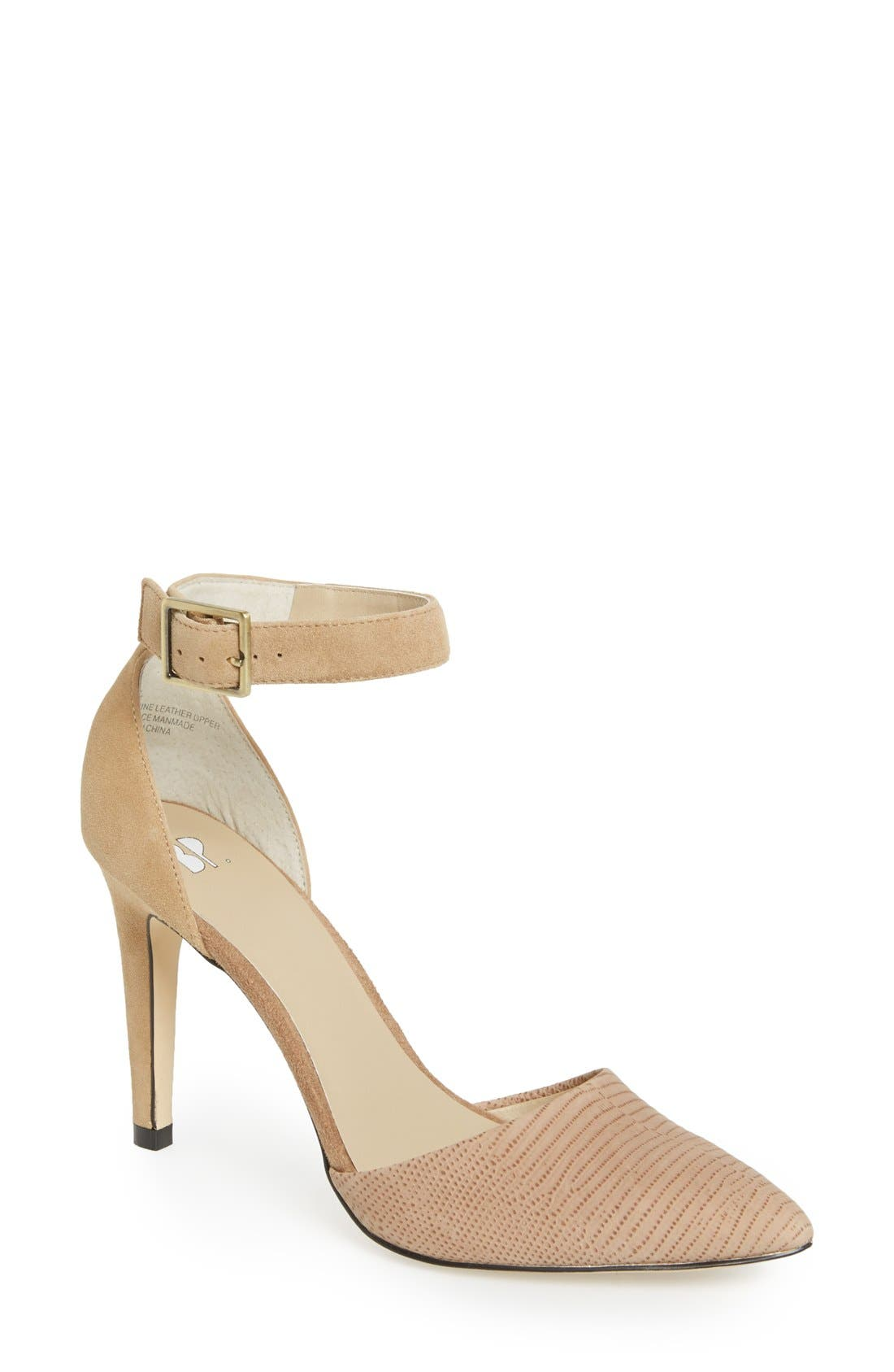 'Mallory' Ankle Strap Pump,                             Main thumbnail 1, color,                             Beige/ Nude