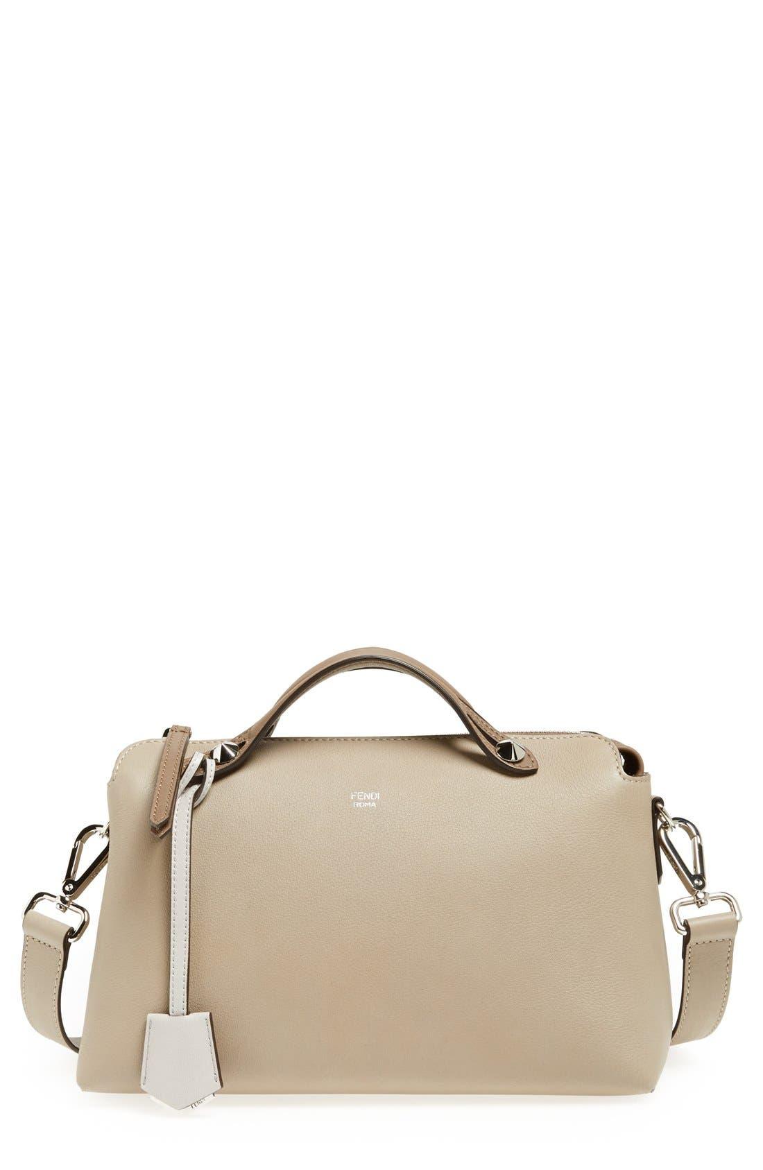 'Bauletto Piccolo' Leather Crossbody Bag,                             Main thumbnail 1, color,                             Turtledv Sepia Palladuim