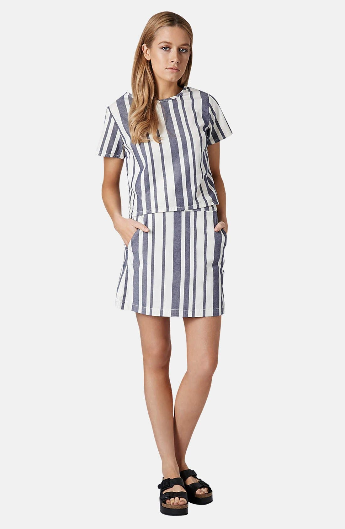Alternate Image 5  - Topshop Moto Stripe Denim Skirt