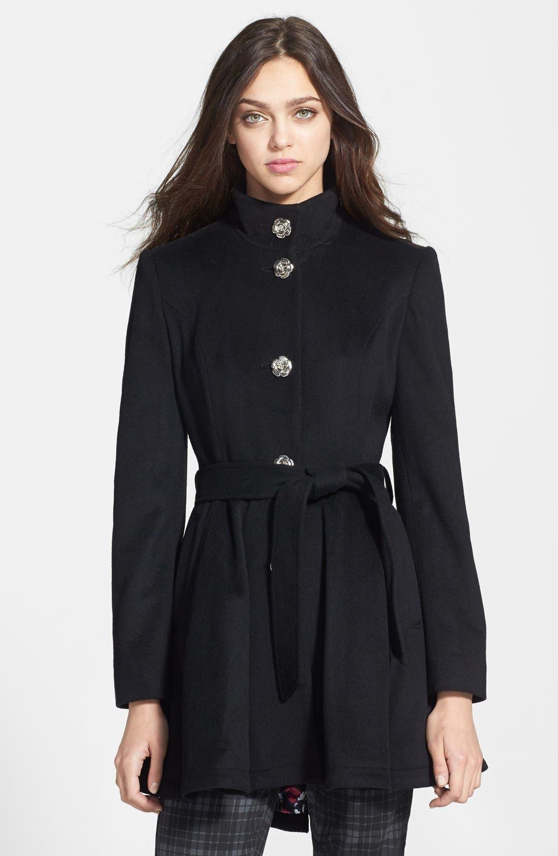 Belted Skirted Wool Blend Coat,                             Main thumbnail 1, color,                             Black