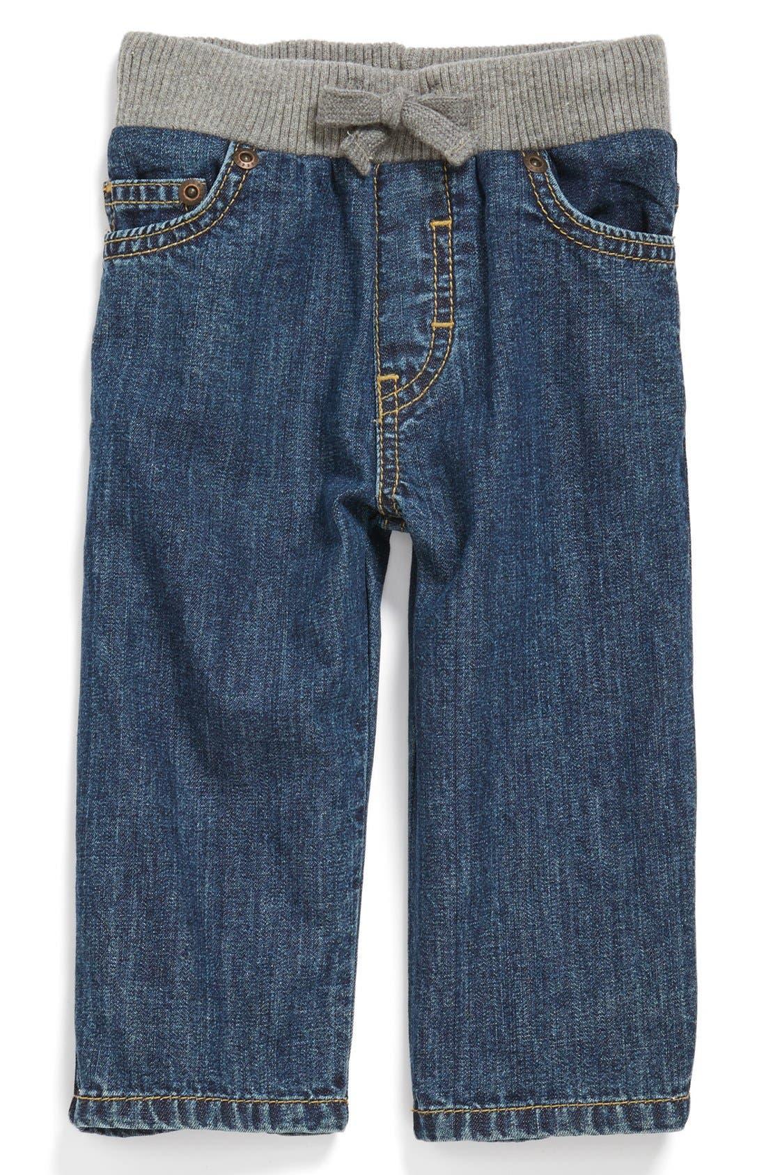 Main Image - Tucker + Tate 'Tucker' Knit Waist Straight Leg Jeans (Baby Boys)