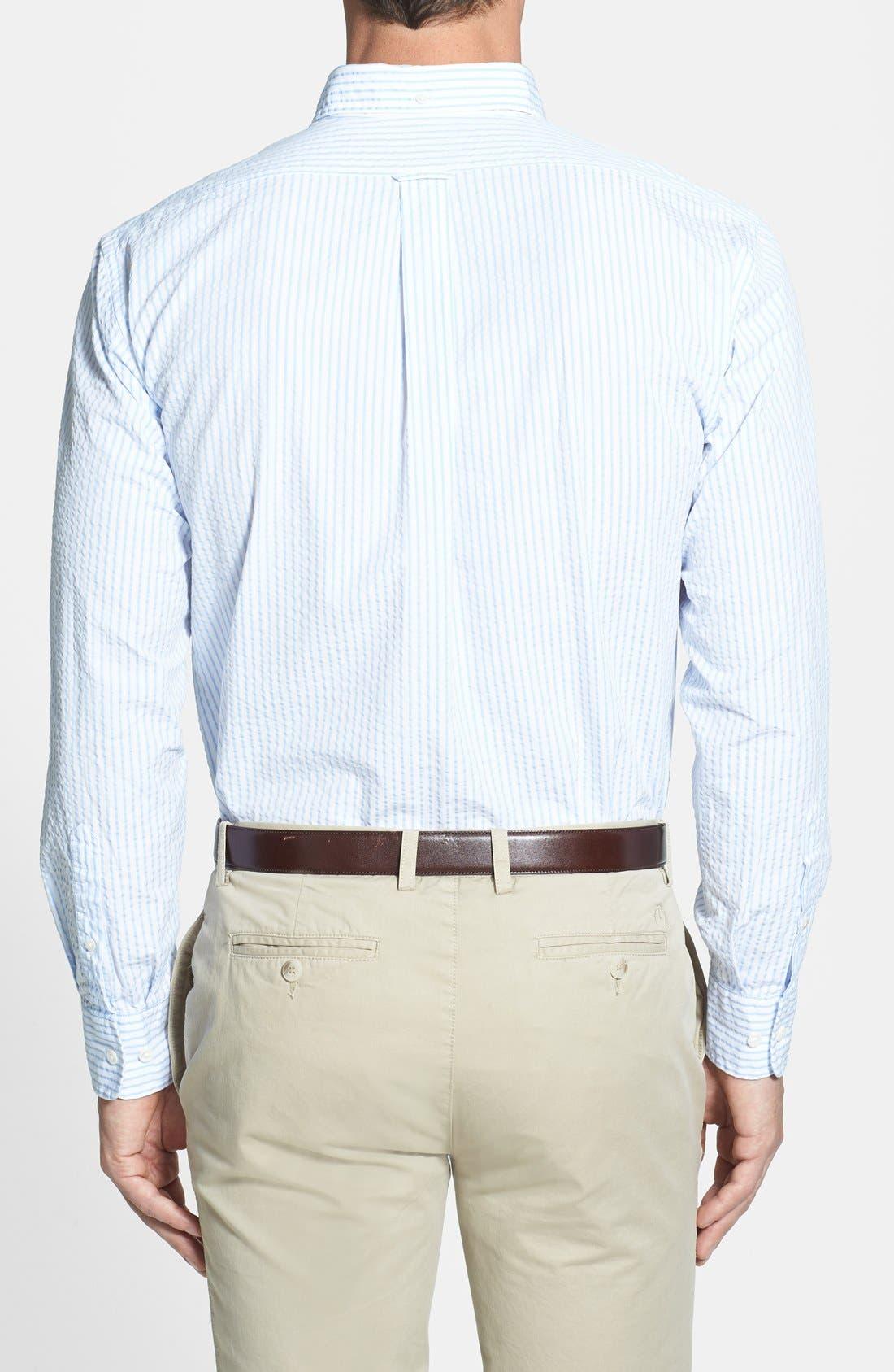 Alternate Image 2  - Façonnable Classique Fit Seersucker Sport Shirt (Tall)