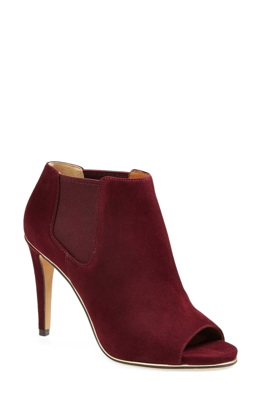 Alternate Image 1 Selected - COACH 'Adrianna' Suede Peeptoe Bootie (Women)