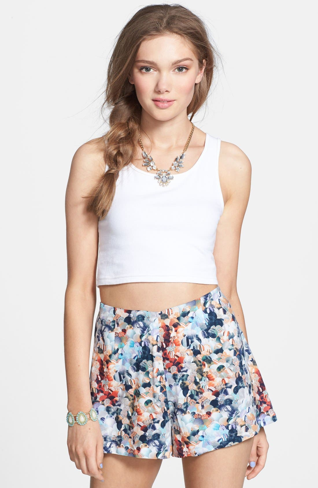 Alternate Image 1 Selected - Lily White Print Shorts (Juniors)