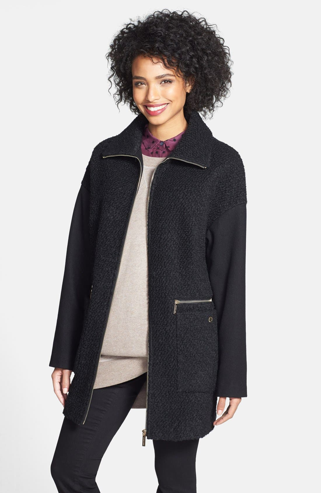 Alternate Image 1 Selected - MICHAEL Michael Kors Zip Front Bouclé Wool Blend Coat