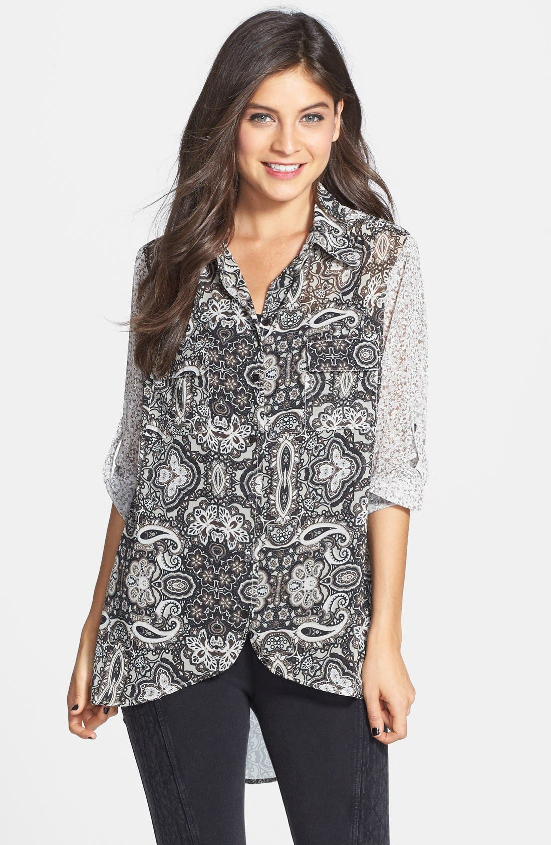 Alternate Image 1 Selected - Band of Gypsies Mixed Print Oversized Tunic (Juniors)