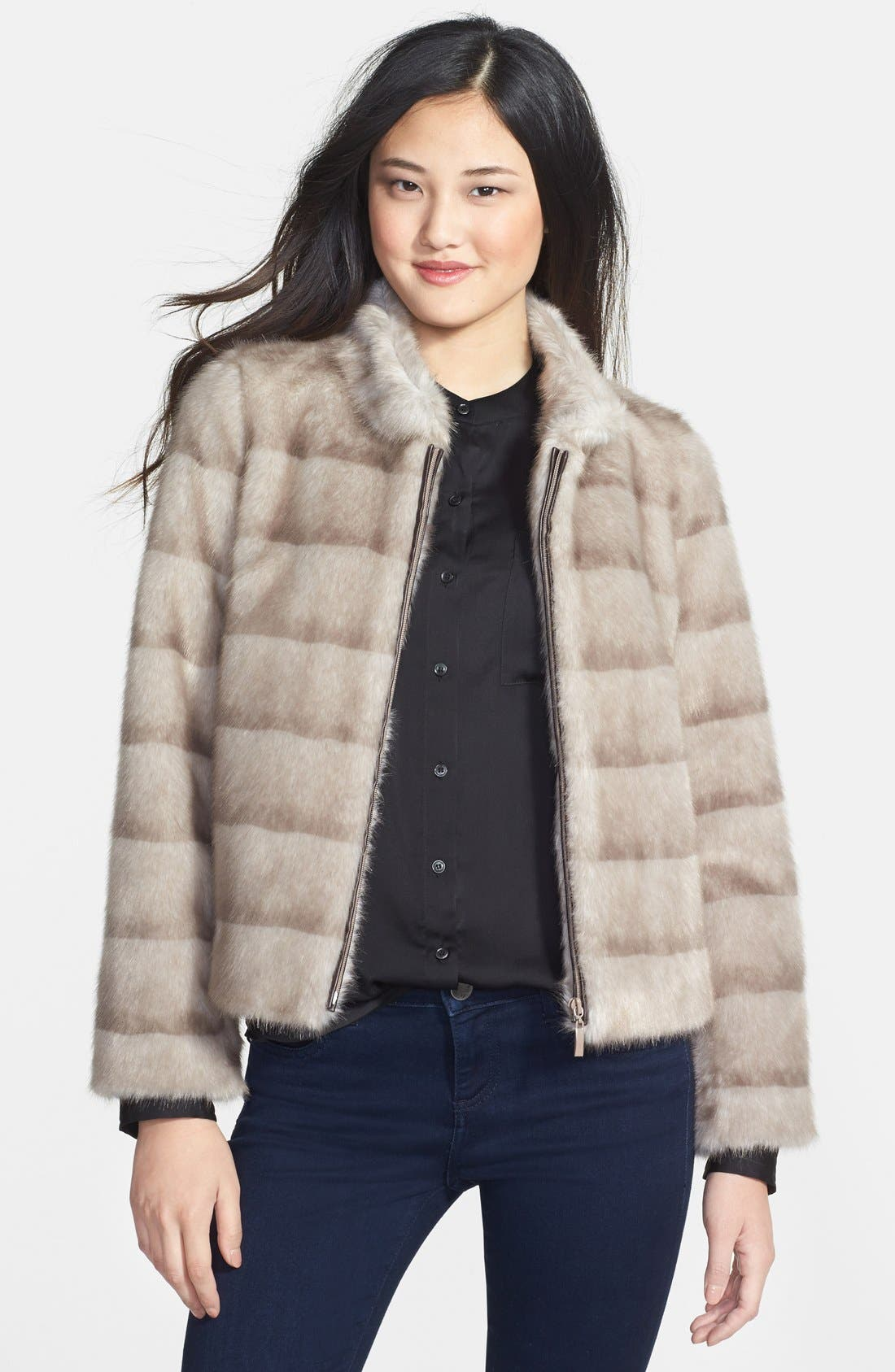 Alternate Image 1 Selected - Kristen Blake Faux Mink Jacket (Online Only)