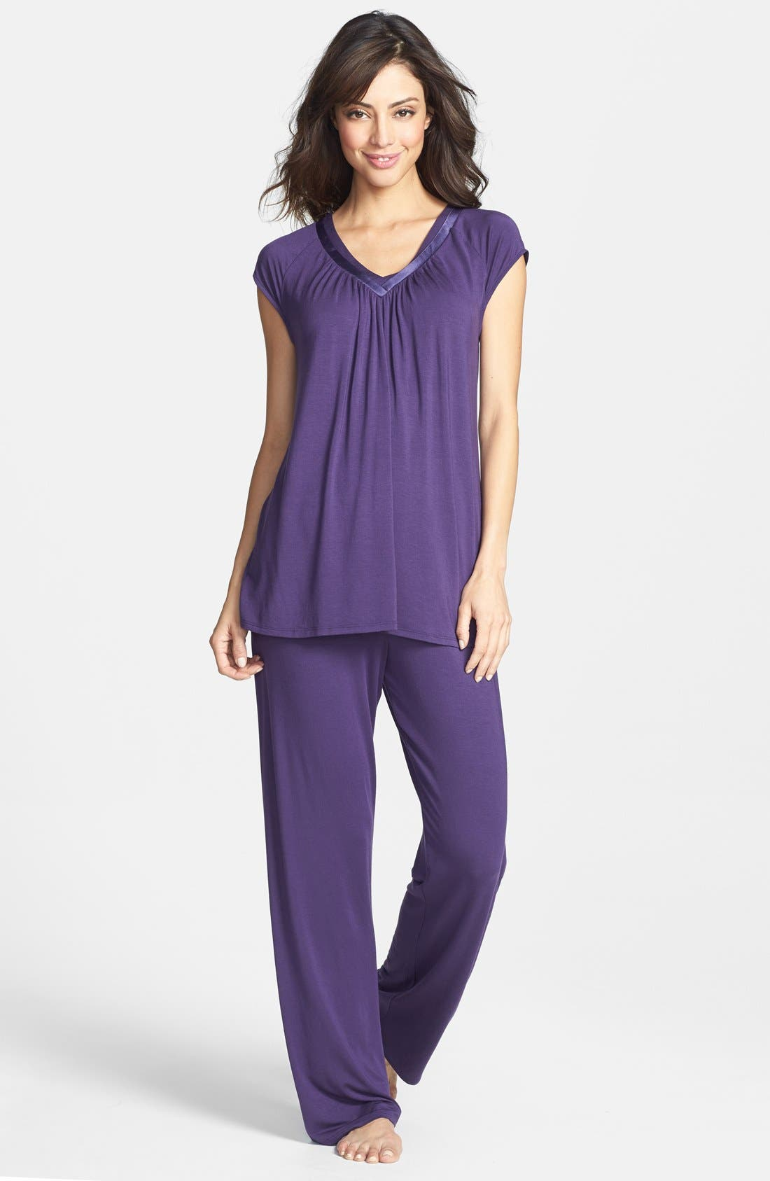 Alternate Image 1 Selected - Midnight by Carole Hochman Satin Trim Pajamas (Nordstrom Online Exclusive)