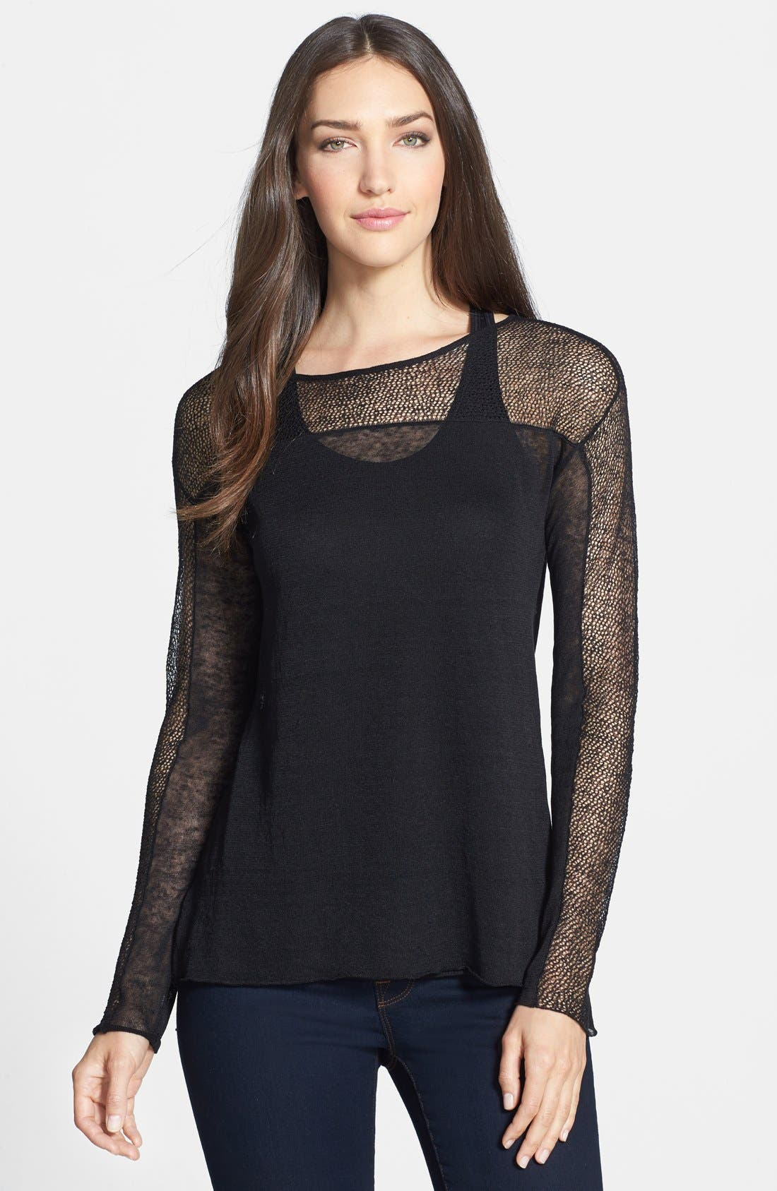 Alternate Image 1 Selected - Eileen Fisher Sheer Bateau Neck Top