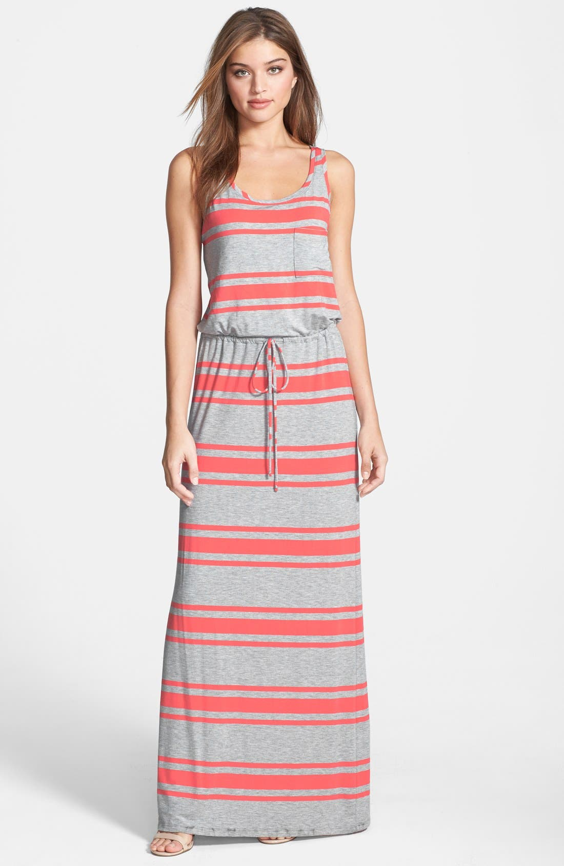 Drawstring Jersey Maxi Dress,                             Main thumbnail 1, color,                             Heather Grey/ Coral Stripe