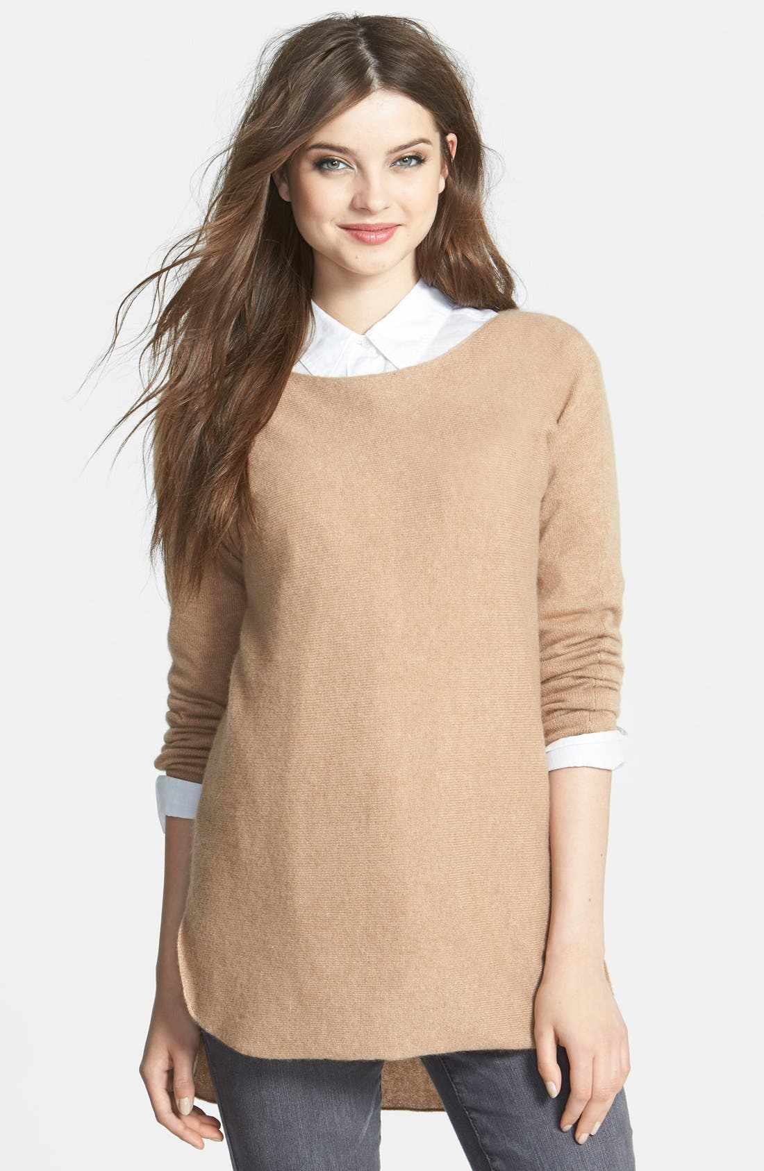 High/Low Cashmere Tunic Sweater,                         Main,                         color, Dark Camel
