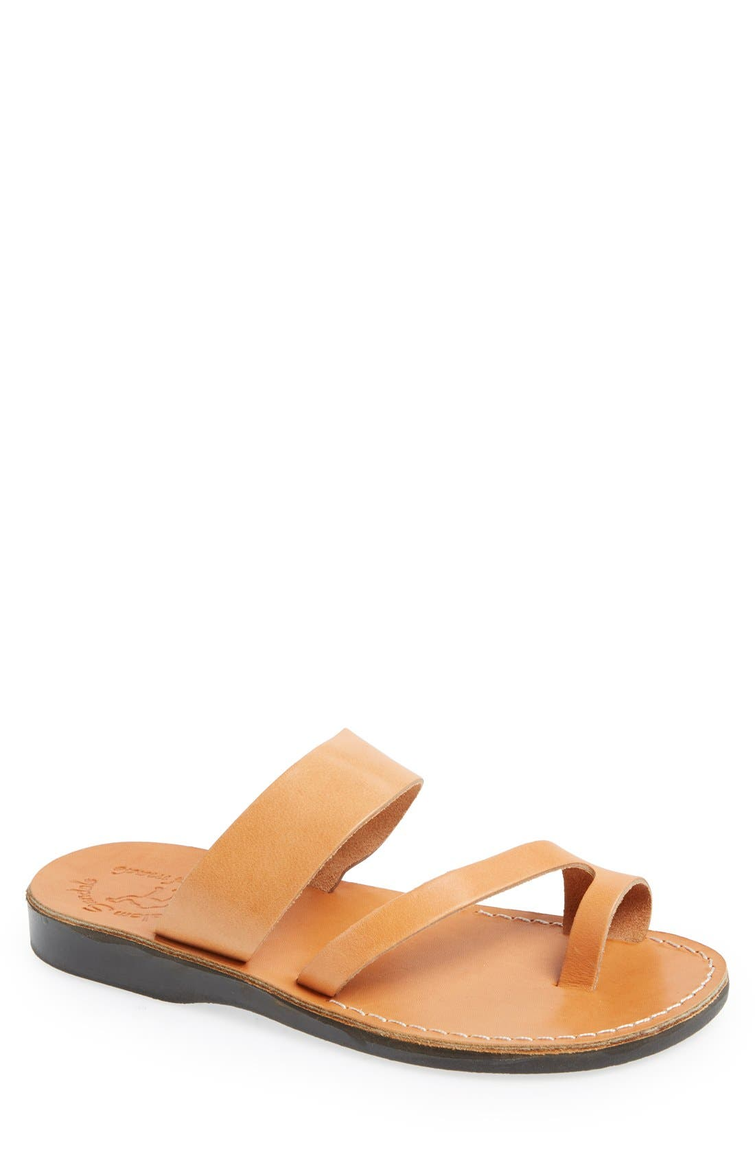 'Zohar' Leather Sandal,                             Main thumbnail 1, color,                             Tan