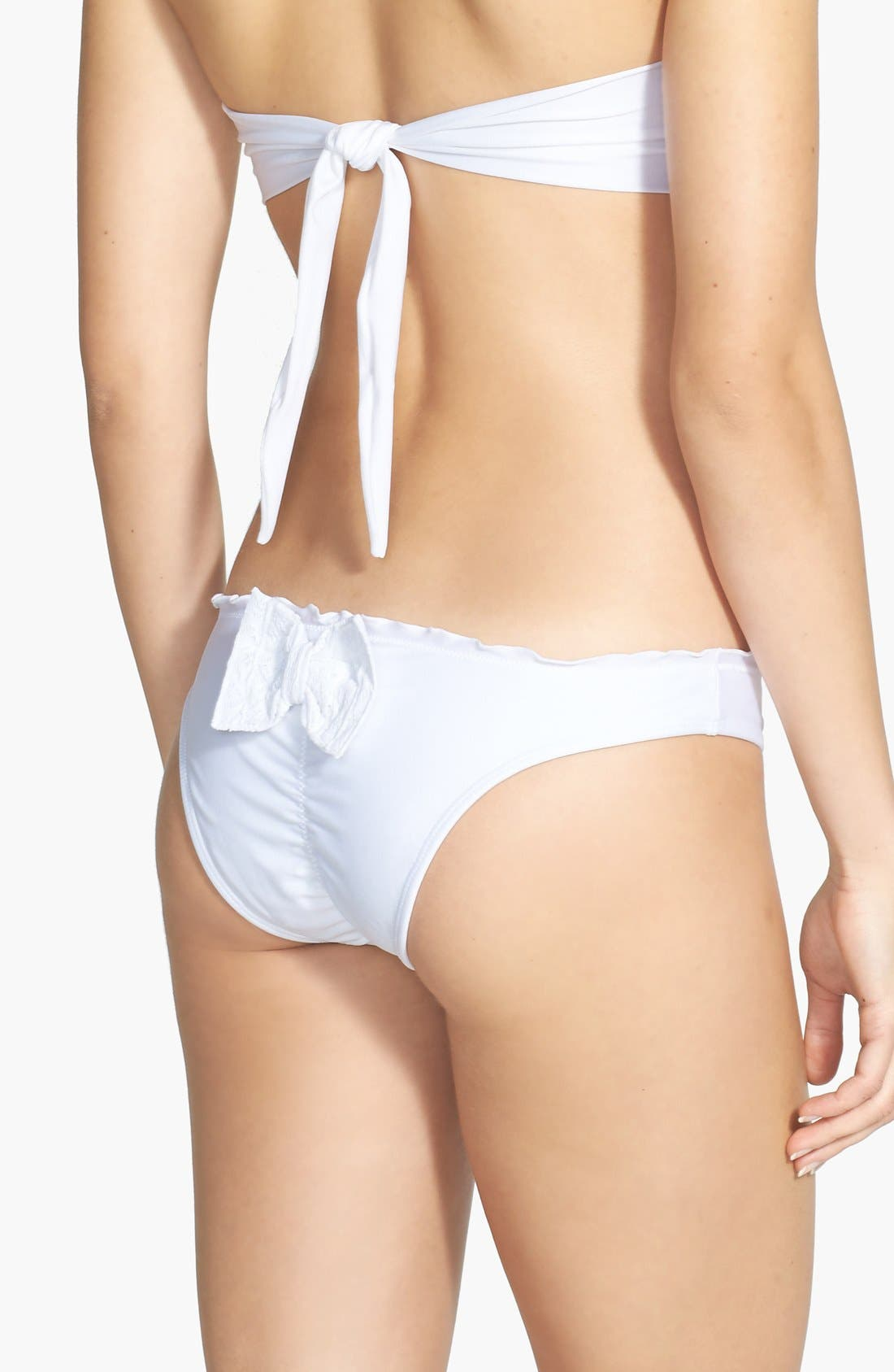 Main Image - PilyQ Eyelet Bow Ruffle Teeny Bikini Bottoms