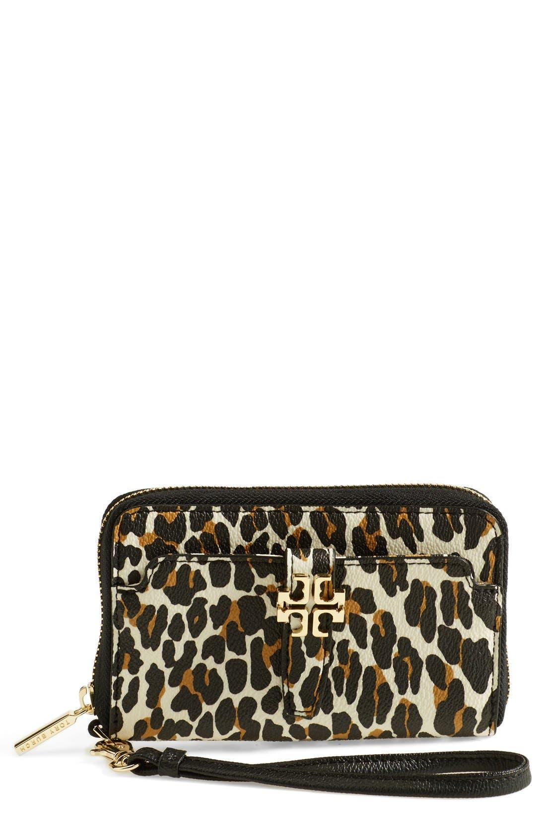 Main Image - Tory Burch 'Plaque' Leopard Print Smartphone Wristlet