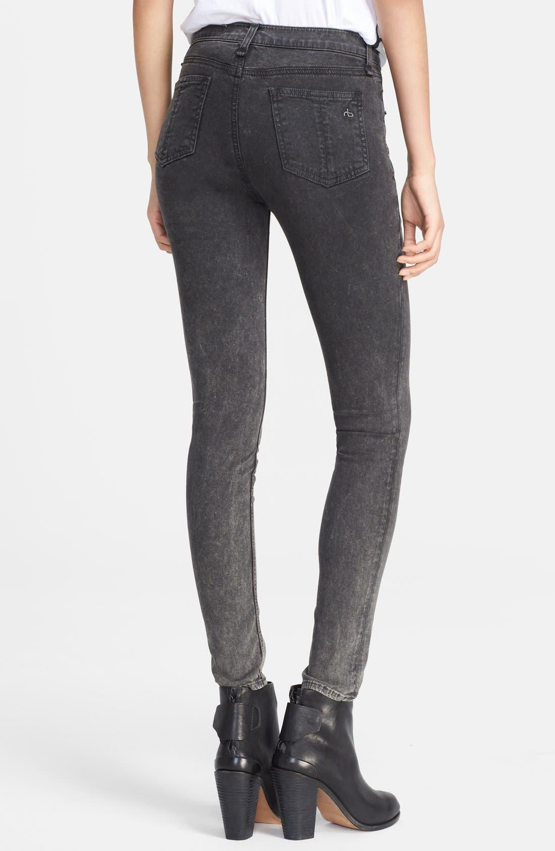 Alternate Image 2  - rag & bone/JEAN 'Justine' High Rise Skinny Jeans (Rosebowl Black)
