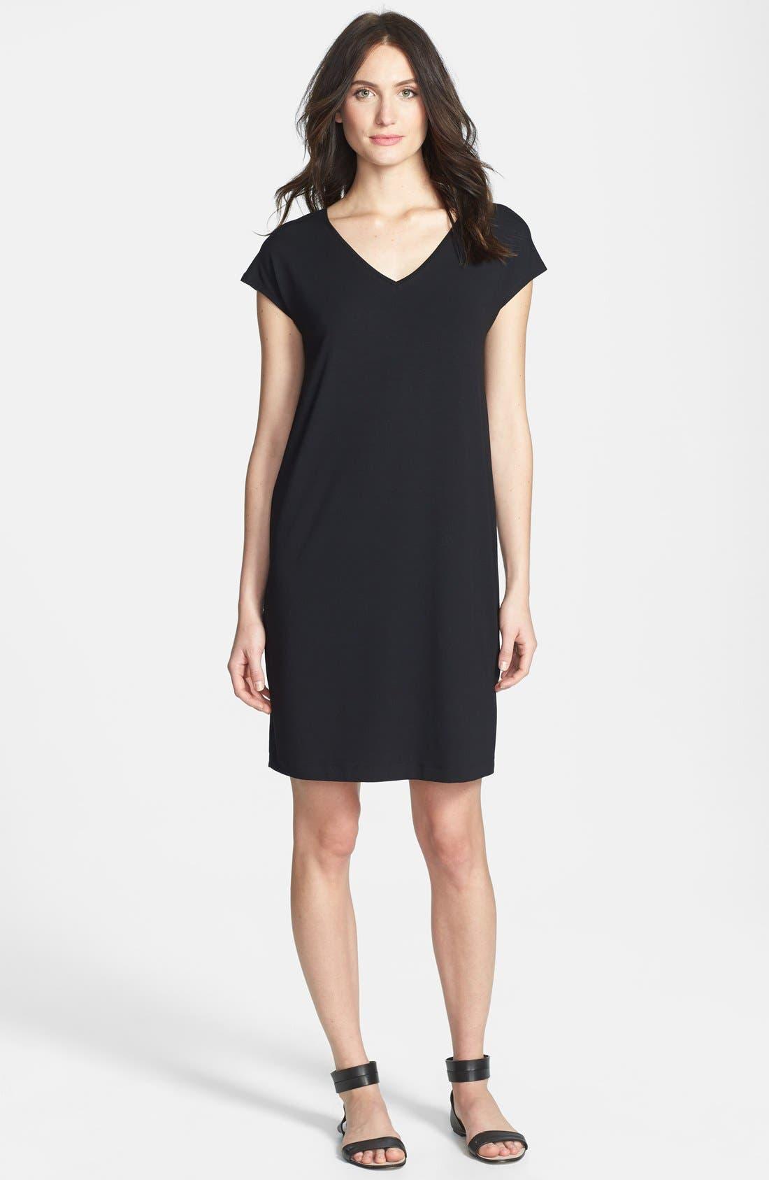 Alternate Image 1 Selected - Eileen Fisher V-Neck Cap Sleeve Shift Dress
